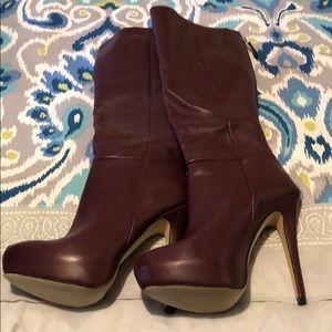 Baker dark purple high heel boots